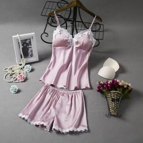 Lotus Patchwork Pink Condole Belt 2-in-1 Sweet Short Jumpsuit