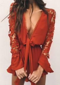 Red Plain Irregular Lace Plunging Neckline Fashion Short Jumpsuit