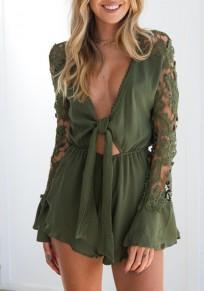 GreenPlain Irregular Lace Plunging Neckline Fashion Short Jumpsuit