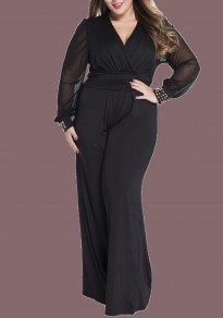 Black Rivet Grenadine Plus Size Long Sleeve Wide Leg Long Jumpsuit