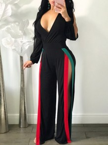 Black Cut Out Double Slit High Waisted Long Sleeve Wide Leg Long Jumpsuit