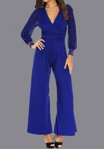 Royal Blue Patchwork Grenadine Rivet V-neck Party High Waisted Wide Leg Long Jumpsuit