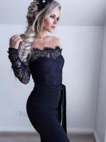 Black Patchwork Lace Sashes Backless Off Shoulder Prom Party Wide Leg Long Jumpsuit