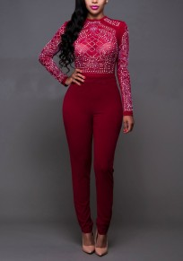 Date Red Patchwork Zipper Grenadine With Rhinestone Long Sleeve Club Long Jumpsuit