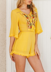Yellow Flowers Embroidery Tassel Fashion Short Jumpsuit