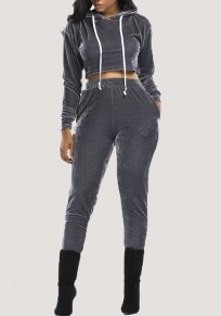 Grey Crop 2-in-1 Hoodie Mid-rise Long Sleeve Sports Suit Fashion Long Jumpsuit