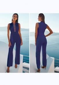 Blau Flickwerk Mesh mit Gürtel Ärmellos Mode Elegantees Damen Lang Jumpsuit Hosenanzug