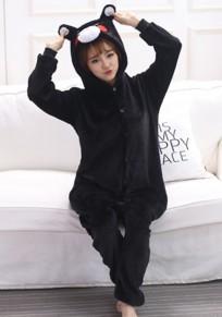 Combinaison de nuit pyjamas polaire bear animaux à capuche mignon noir femme