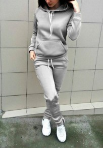 Grey Plain Drawstring Pockets Sports Long Jumpsuit