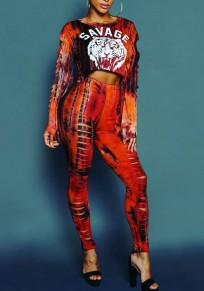 Red-Black Animal Print Cut Out Crop 2-in-1 Round Neck Long Sleeve Long Jumpsuit
