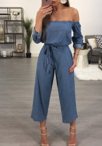 Dark Blue Off Shoulder Backless Pockets Wide Leg Drawstring Fashion Denim Nine's Jumpsuit