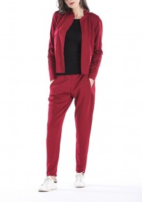 Red 2-in-1 Pockets Round Neck Long Sleeve Casual Long Jumpsuit