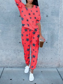 Red Galaxy Print 2-in-1 Fashion Long Jumpsuit