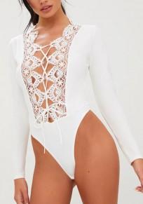 Pantalones cortos mono corte cordón elástico moda blanco