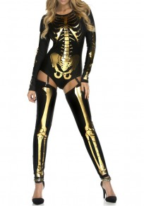 Black-Golden The Vampire Halloween Costumes Skeleton Ghost Bride The Queen Long Jumpsuit