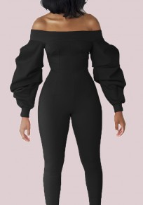 Black Bandeau Balloon Sleeve Off Shoulder Long Jumpsuit Catsuit