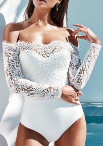 White Lace Bandeau Off Shoulder Backless Bodysuit High Waisted Short Jumpsuit