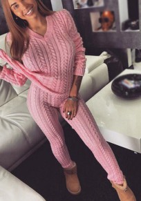 Pink Plain Draped 2-in-1 Elastic Waist Fashion Long Jumpsuit