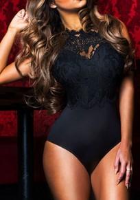 Combishort avec dentelle dos nu une pièce vintage femme bodysuit noir