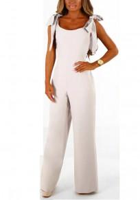 Grey Plain Ribbons Zipper Elastic Waist Long Jumpsuit