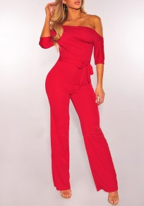 Red Belt Elbow Sleeve Fashion Long Jumpsuit