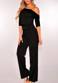 Black Belt Elbow Sleeve Fashion Long Jumpsuit