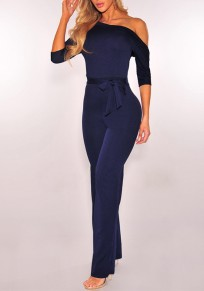 Navy Blue Belt Elbow Sleeve Fashion Long Jumpsuit