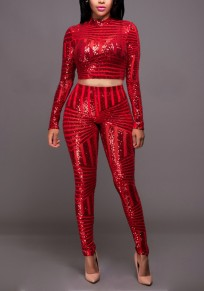 Red Geometric Sequin Glitter Sparkly Two Piece Christmas Party Long Jumpsuit