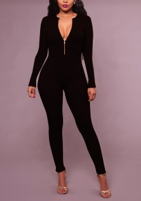 Black Zipper Backless Deep V-neck Long Sleeve Multi Way Party Long Jumpsuit