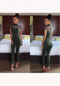 Green Plain Cut Out Zipper Elastic Waist Long Jumpsuit