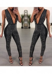 Black Rhinestone Sparkly Backless Deep V-neck High Waisted Bodycon Party Long Jumpsuit