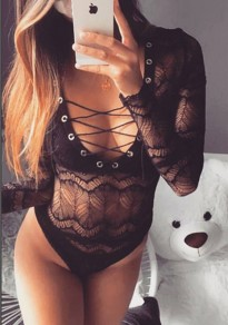 Black Patchwork Lace Bodysuit Long Sleeve Lace Up Short Jumpsuit