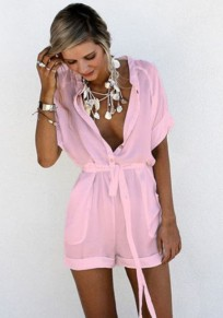 Pink Pockets Single Breasted Drawstring Waist Casual Short Jumpsuit