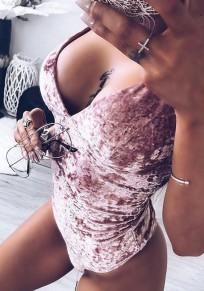 Pink Plain Condole Belt High Waisted Short Jumpsuit