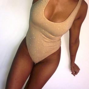 Aprikose Flickwerk Strass elastische Taille Mode kurzen Overall