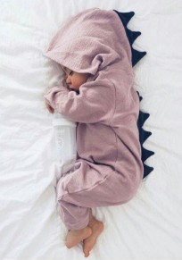 Pink Patchwork Buttons Sewing Baby Cute Hooded Long Jumpsuit
