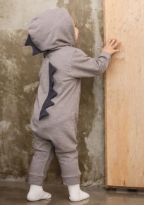 Grey Patchwork Buttons Sewing Baby Cute Hooded Long Jumpsuit