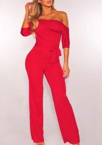 Red Sashes Asymmetric Shoulder Wide Leg Elegant Long Jumpsuit