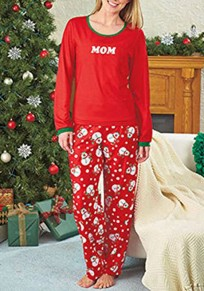 Red Floral 2-in-1 High Waisted Christmas Cute Pajamas Long Jumpsuit