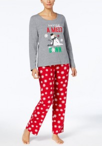 Gery-Red Floral Snowman 2-in-1 High Waisted Christmas Cute Pajamas Long Jumpsuit