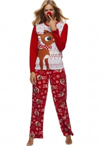 Red Floral Deer 2-in-1 High Waisted Christmas Cute Pajamas Long Jumpsuit