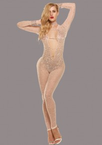 Beige Mosaic Rhinestone Cut Out Deep V-neck High Waisted Club Long Jumpsuit