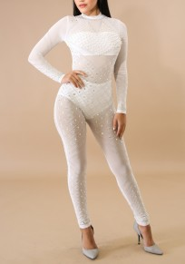 White Mosaic Rhinestone Zipper Bodycon High Waisted Clubwear Party Long Jumpsuit