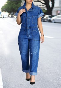 Blue Patchwork Buttons Pockets Turndown Collar High Waisted Casual Wide Leg Long Jumpsuit