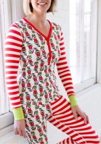 Red Striped Santa Claus Print Pajamas Two Piece Christmas Cute Long Jumpsuit