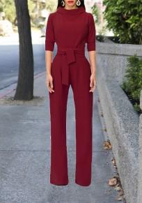 Combinaison pantalons longue avec ceinture manches au coude élégant femme bordeaux