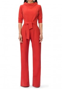Red Pockets Zipper Drawstring Waist Fashion Long Jumpsuit