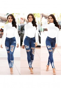 White High Neck Long Sleeve Fashion Short Jumpsuit