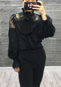 Black Lace Band Collar Long Sleeve Fashion Short Jumpsuit