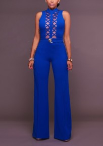 Blue Patchwork Grenadine Cut Out Backless Party Wide Leg Long Jumpsuit